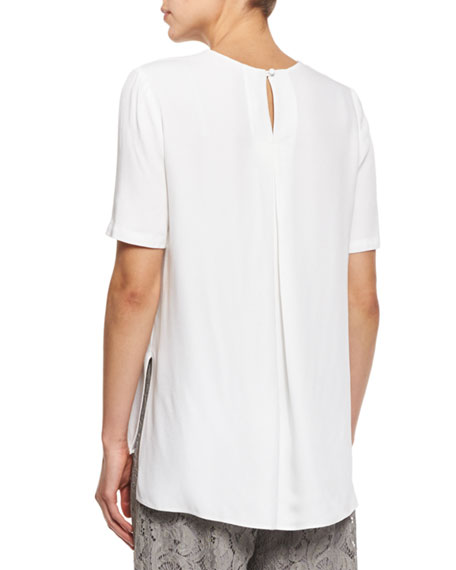 Pleated-Back Crepe Crewneck Tee, White