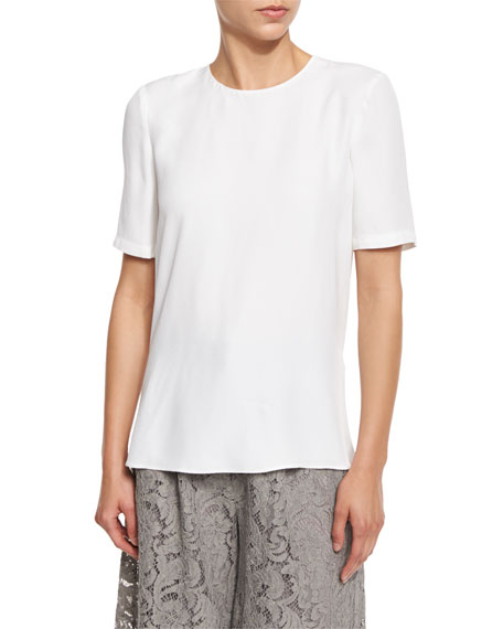 Adam Lippes Pleated-Back Crepe Crewneck Tee, White