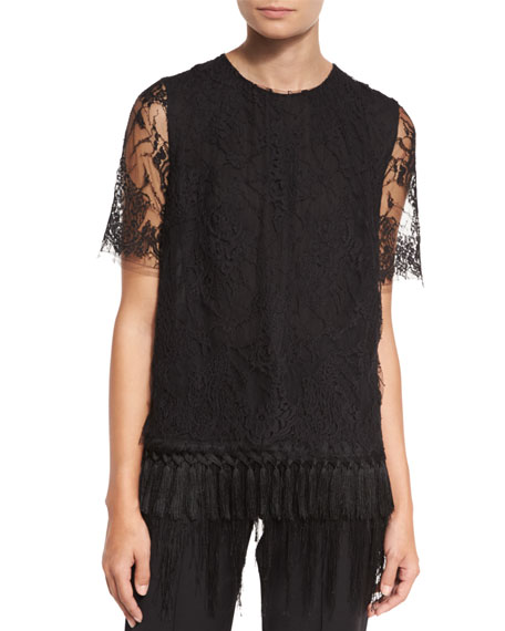Adam Lippes Short-Sleeve Lace T-Shirt W/Fringe Hem, Black