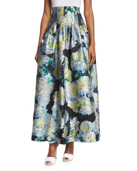 Adam Lippes High-Waist Floral-Print Ball Skirt, White Dahlia