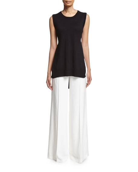 High-Waist Wide-Leg Pants, White