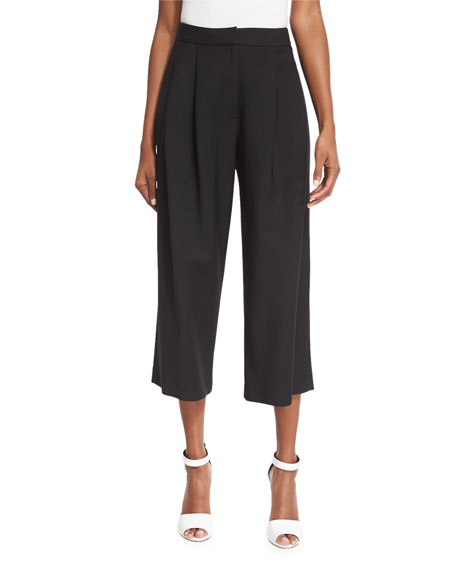High-Waist Pleated-Front Cropped Pants, Black