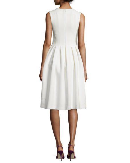 Sleeveless Fit-&-Flare Wool Crepe Dress, Ivory