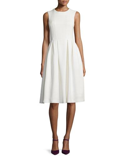 Sleeveless Fit-&-Flare Wool Crepe Dress, Ivory