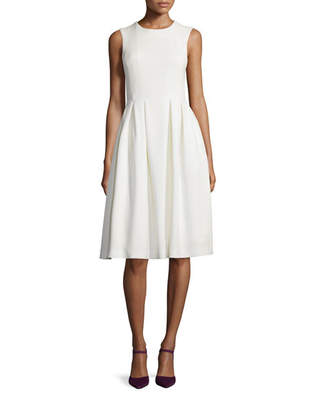 Adam Lippes Sleeveless Fit-&-Flare Wool Crepe Dress, Ivory