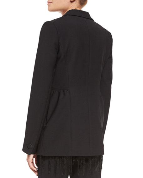 Leopard-Revers Peplum Jacket, Black Price