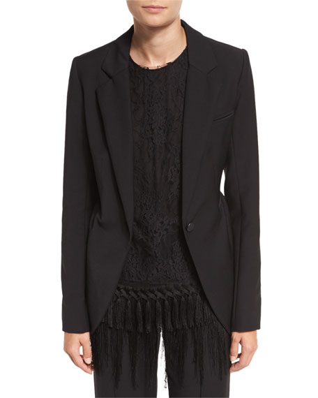 Adam Lippes Leopard-Revers Peplum Jacket, Black