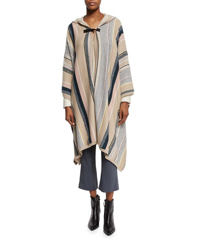 Long-Sleeve Hooded Poncho, Multi Stripe