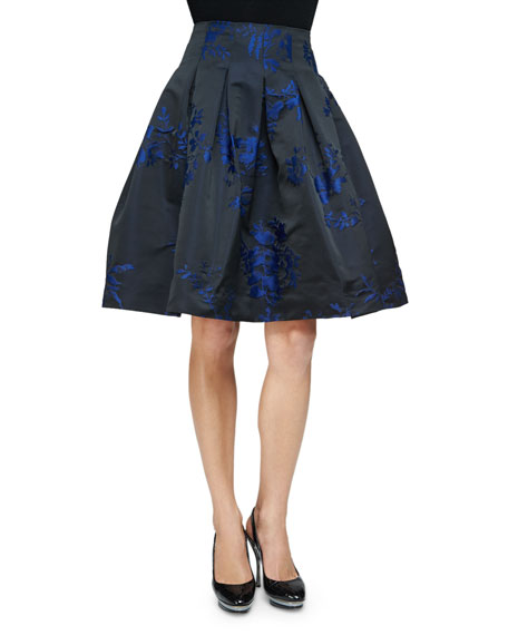 Contrast Floral-Print Full Skirt, Cobalt