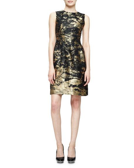 Sleeveless Jewel-Neck Metallic Dress, Gold