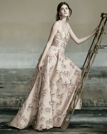 Sleeveless 3D Floral-Embellished Gown, Nude
