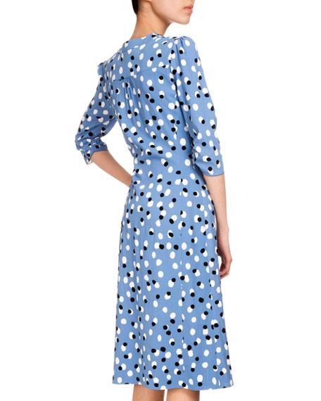 Aimee Polka-Dot Button-Front Dress, Blue