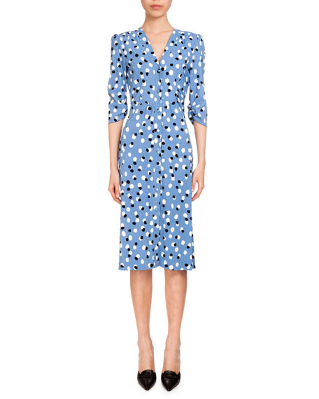 Aimee Polka-Dot Button-Front Dress, Blue