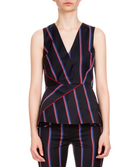 Altuzarra Miles Sleeveless Striped Peplum Top, Navy/Tango