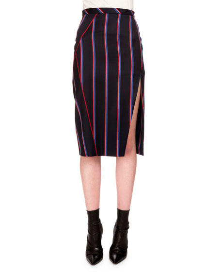Altuzarra Monroe Striped Side-Slit Pencil Skirt, Navy/Tango