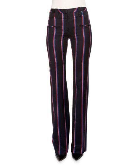 Serge Zip-Front Striped Pants, Navy/Tango