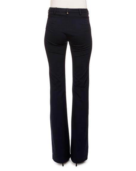 Serge Zip-Front Flare-Leg Pants, Navy