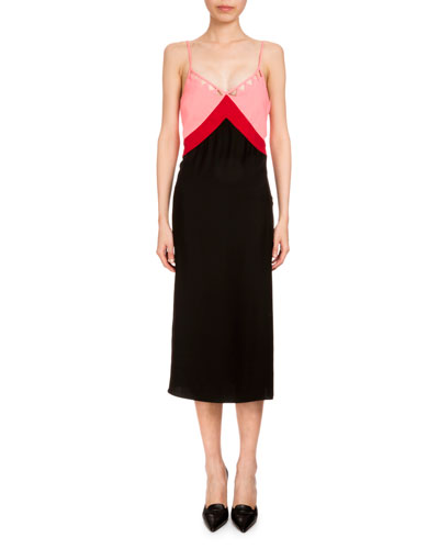 Leslie Colorblock Slip Dress, Black