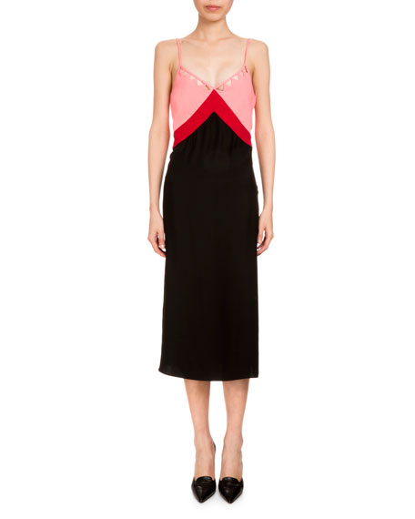 Altuzarra Leslie Colorblock Slip Dress, Black