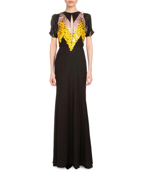 Altuzarra Loretta Short-Sleeve Paillette Gown, Black