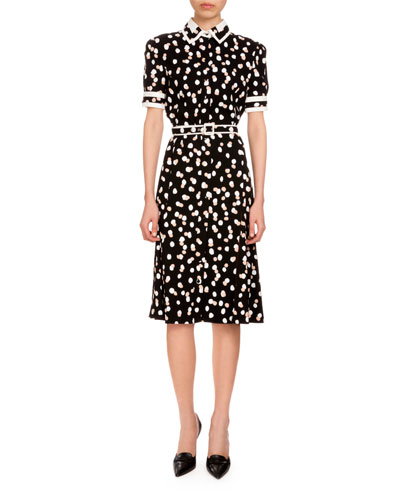 Ella Polka-Dot Short-Sleeve Shirtdress, Black