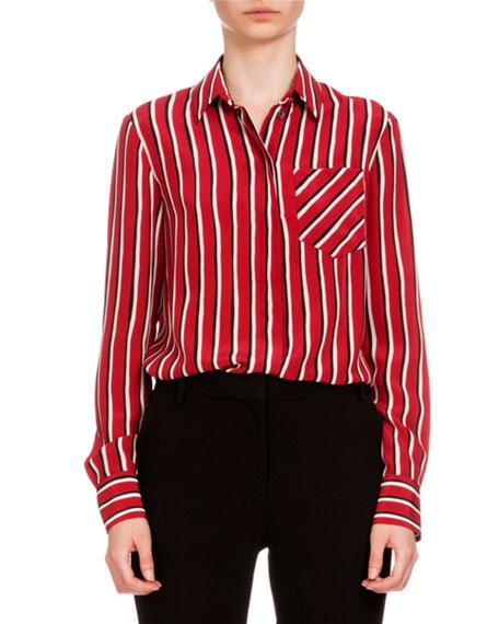 Altuzarra Chika Striped Button-Front Blouse, Tango/Black