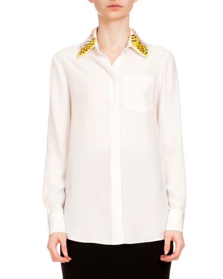 Altuzarra Paillette-Collar Button-Front Blouse, Natural White