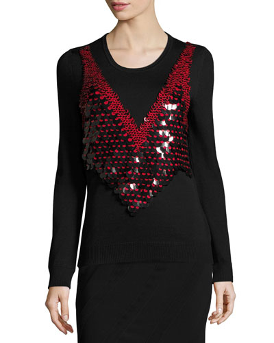 Powell Sequined-Harness Sweater, Black