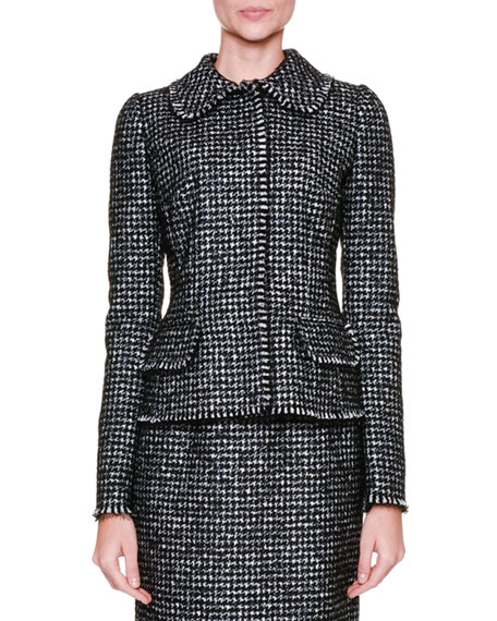 Peter Pan-Collar Tweed Jacket, Black/Gray/Multi