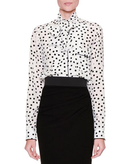 Dolce & Gabbana Tie-Neck Polka-Dot Blouse, White/Black