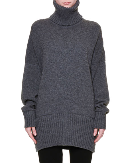 Long-Sleeve Oversized Easy Tunic Sweater, Gray