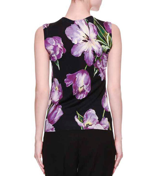 Jewel-Neck Tulip-Print Shell, Black/Light Purple
