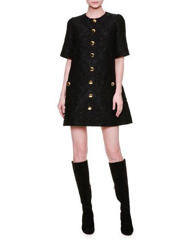 Short-Sleeve Button-Front Shift Dress, Black