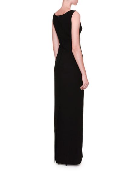 Sleeveless Tulip-Appliqué Column Gown, Black/Bright Pink