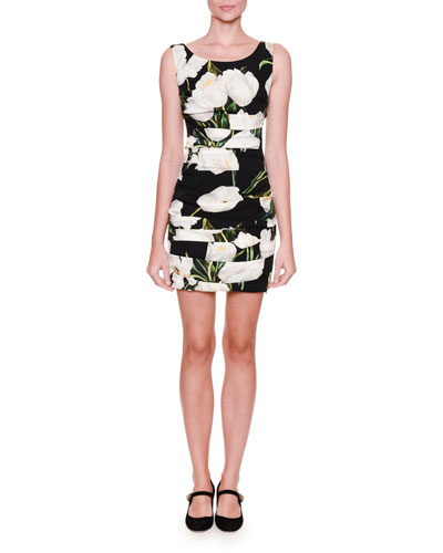 Sleeveless Ruched Tulip-Print Dress, Black/White