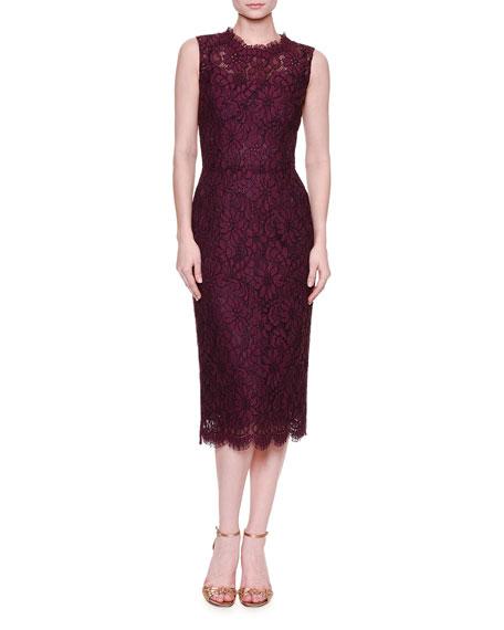 Sleeveless Lace Midi Dress, Dark Aubergine