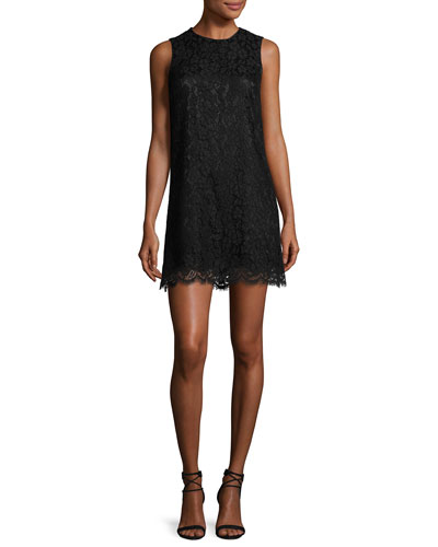 Lace Sleeveless Shift Dress, Black