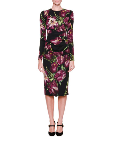 Long-Sleeve Tulip-Print Ruched Dress, Black/Violet