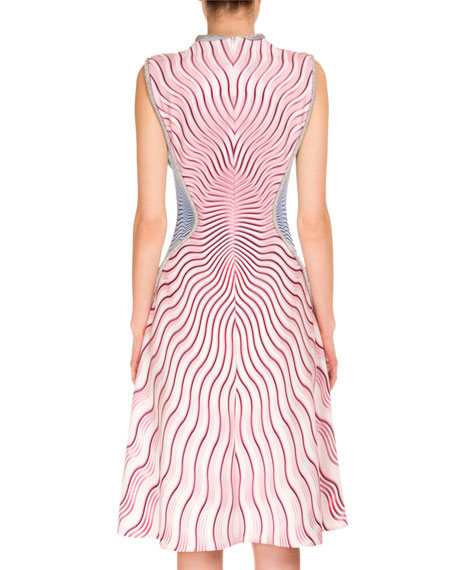 Sleeveless Tricolor Wavy-Print Dress, Snuffbox/Pink