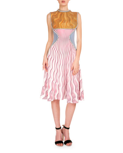 Sleeveless Tricolor Wavy-Print Dress, Snuffbox/Pink