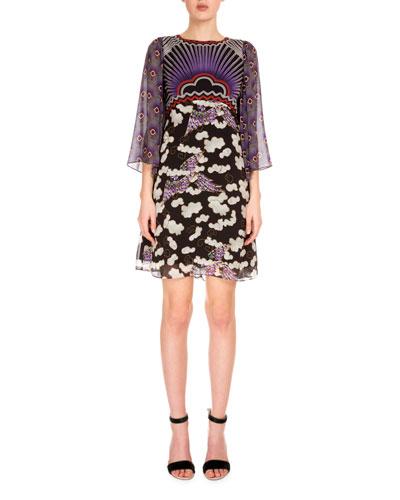 3/4-Sleeve Mixed-Print Dress, Trinket Cloud