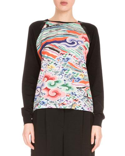 Raglan-Sleeve Printed-Front Sweater, Rainbow Cloud