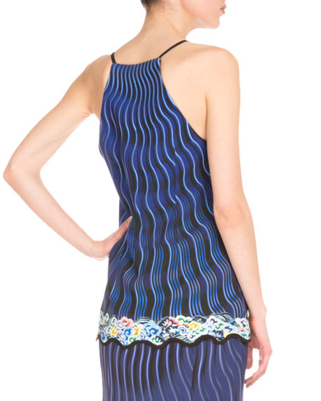Racerback Mixed-Print Camisole, Snuffbox/Blue