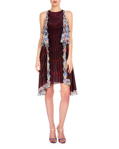 Wavy-Print Dress W/Tiered Ruffles, Snuffbox/Red