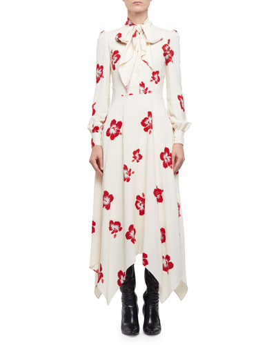 Embellished Hibiscus-Print Midi Dress, Shell/Red/Silver
