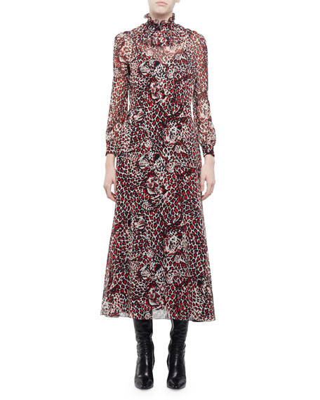 Saint Laurent Leopard & Cat-Face Printed Midi Dress,
