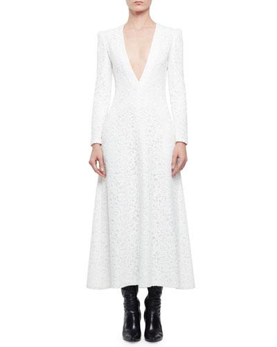 Long-Sleeve Plunging V-Neck Long Dress, Shell White