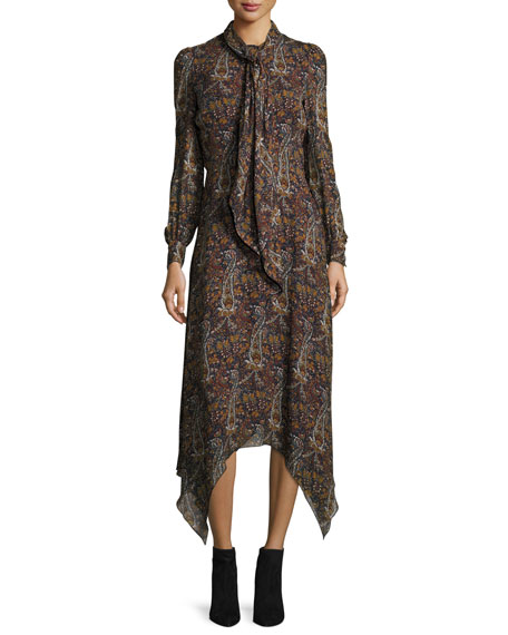 Paisley-Print Tie-Neck Handkerchief Dress, Multi