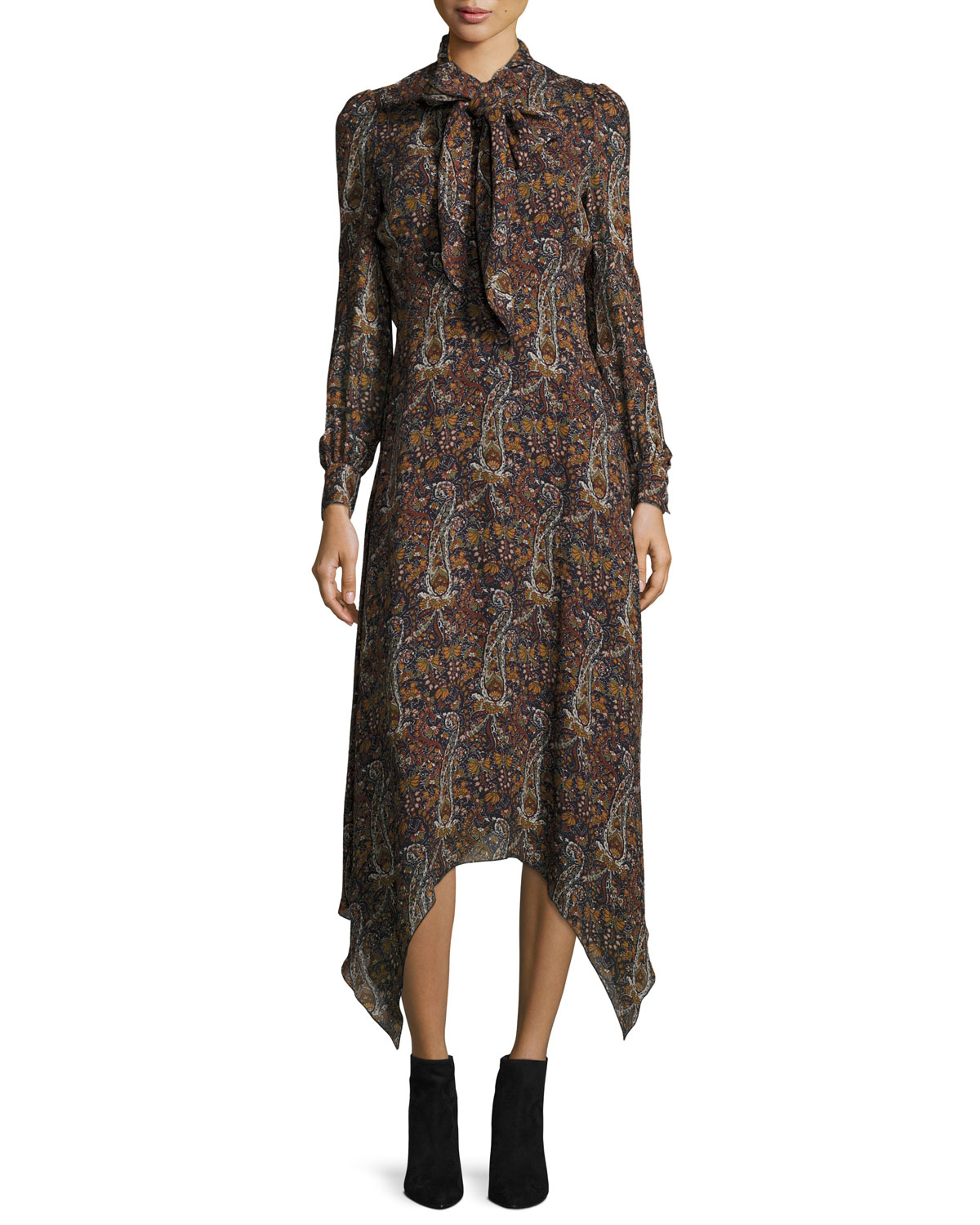 Saint Laurent Paisley-Print Tie-Neck Handkerchief Dress ...