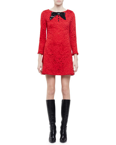3/4-Sleeve Lace Mini Dress, Red